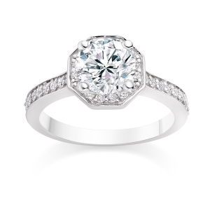 Round Cut 0.81 Carat Halo Engagement Ring with Side Stones in Platinum £2,299