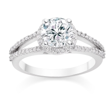Round Cut 0.75 Carat Halo Engagement Ring with Side Stones in 18k White Gold £1799