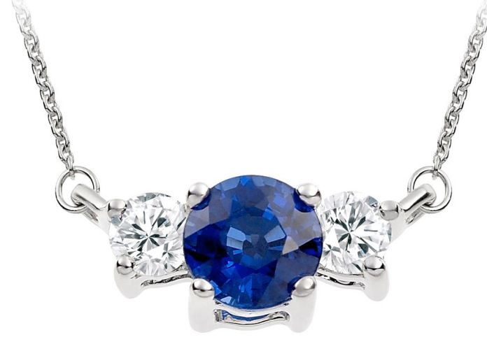 Vashi.com Diamond and Blue Sapphire Pendant in 18k White Gold £699