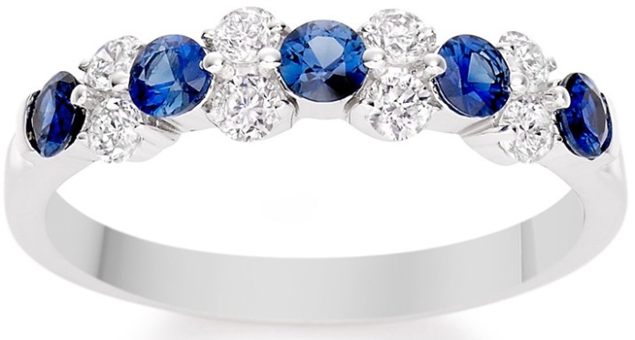 Vashi.com Diamond and Blue Sapphire Ring in 18k White Gold £799