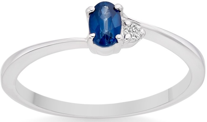 Vashi.com Diamond and Blue Sapphire Ring in 9k White Gold £199
