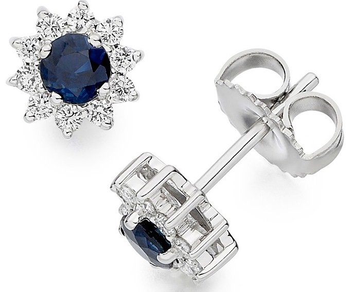 Vashi.com Diamond and Blue Sapphire Stud Earrings in 18k White Gold £599