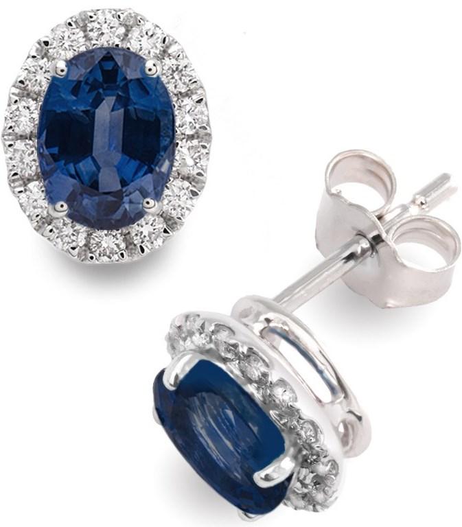 Vashi.com Diamond and Blue Sapphire Stud Earrings in 18k White Gold £999